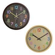 掛け時計 フレデリカ おしゃれ デザイン ウォール クロック リビング ダイニング スイープ スイープムーブメント ナチュラル カラフル