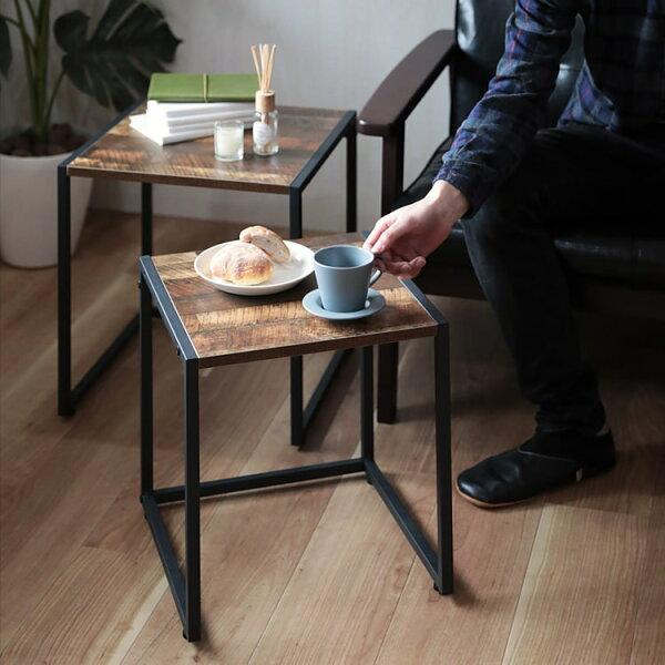 ヴィンテージ風ネストテーブル サイドテーブルテーブル四角形角大小2個セット幅40/幅35収納ウッド木目スチールリビングテーブルナ
