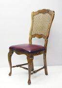 猫脚のアメリカンカントリーはお洒落。フレームはオーク無垢使用。座は革張り。背もたれは籐の編みこみになっています。