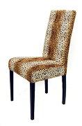 イタリア製・チーター柄の椅子。手触り良し。カバーは洗濯できます。洋服にしたいような、柄・素材です。