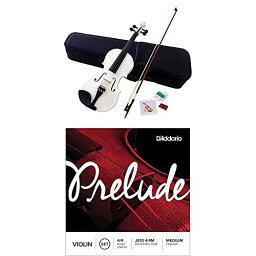 Hallstatt ハルシュタット ヴァイオリン グロスホワイト V-12/WH 4/4サイズバイオリン (通常サイズ) + DAddario バイオリンセット弦 J810 4/4M 付きセット