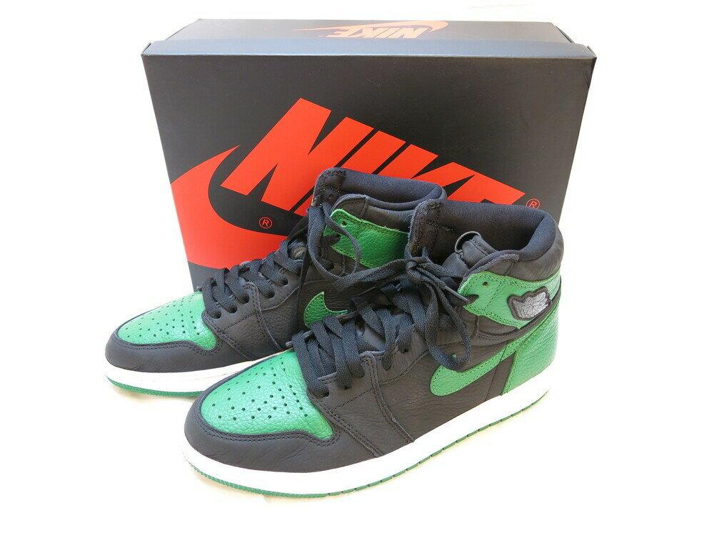 メンズ靴, スニーカー NIKE AIR JORDAN 1 RETRO HIGH OG BLACKPINE GREEN-WHITE-GYM RED 1 - 26.5cm 555088-030 (SH-506)
