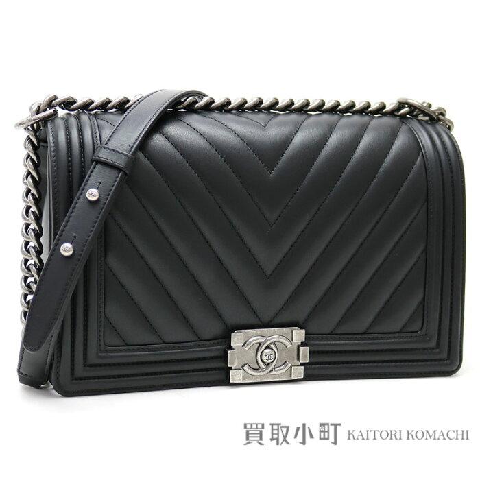 4e0ea5180e50 KAITORIKOMACHI: Chanel boy Chanel flap bag Chevron quilting black leather  large chain shoulder .