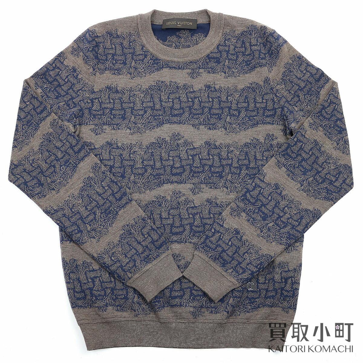 トップス, ニット・セーター LOUIS VUITTON S PM152M Christopher Nemeth Mens Wool Sweater With Rope PatternA