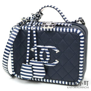 [Same as new] Chanel [CHANEL] Vanity Case Caviar Skin Navy x White Border Coco Mark 2WAY Shoulder Vanity Bag Cosmetic Case CC FILIGREE A93343 # 27 CLASSIC CC FILIGREE COSMETIC CASE VANITY SHOULDER [SA Rank] [Good Condition] [Used]