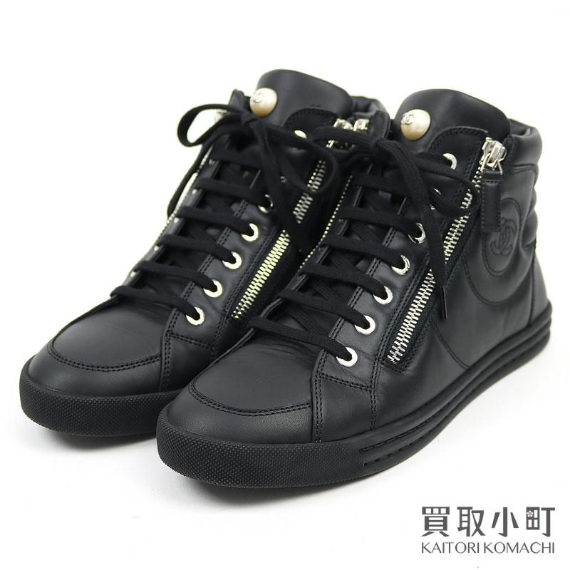 レディース靴, スニーカー 1OFF! 1125CHANEL G30245 X02249 15B 37.5 LEATHER SNEAKERS C