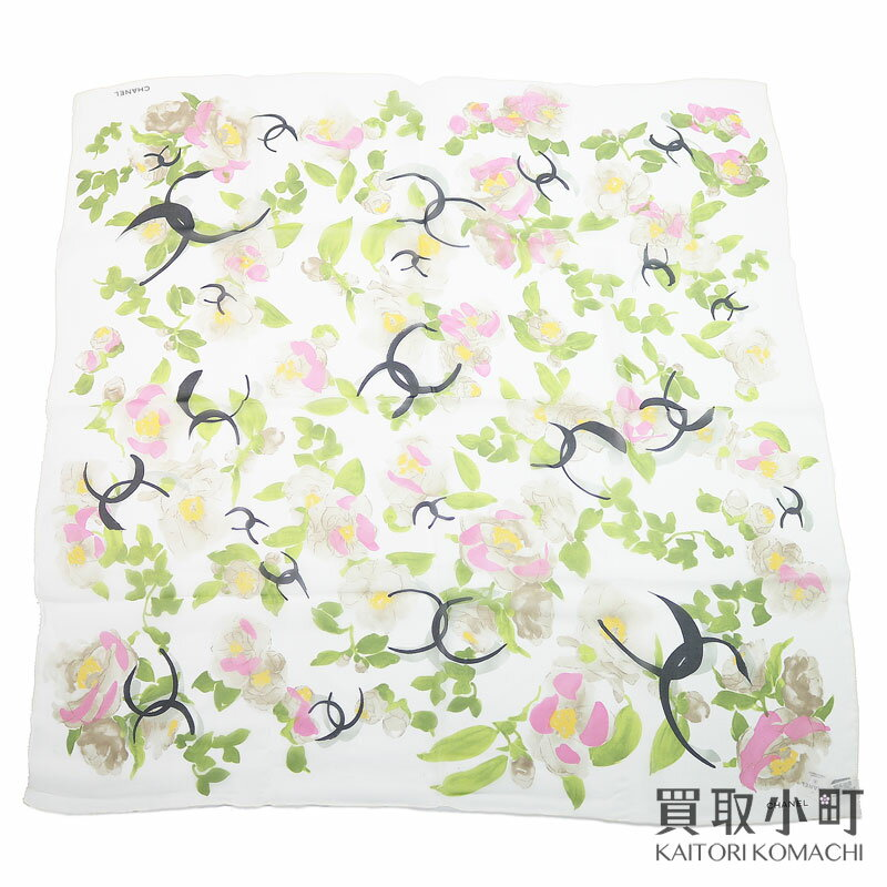 マフラー・スカーフ, レディーススカーフ 3OFF! 515 CHANEL 100 8585cm CC COCO-MARK FLOWER SILK SCARF WHITES