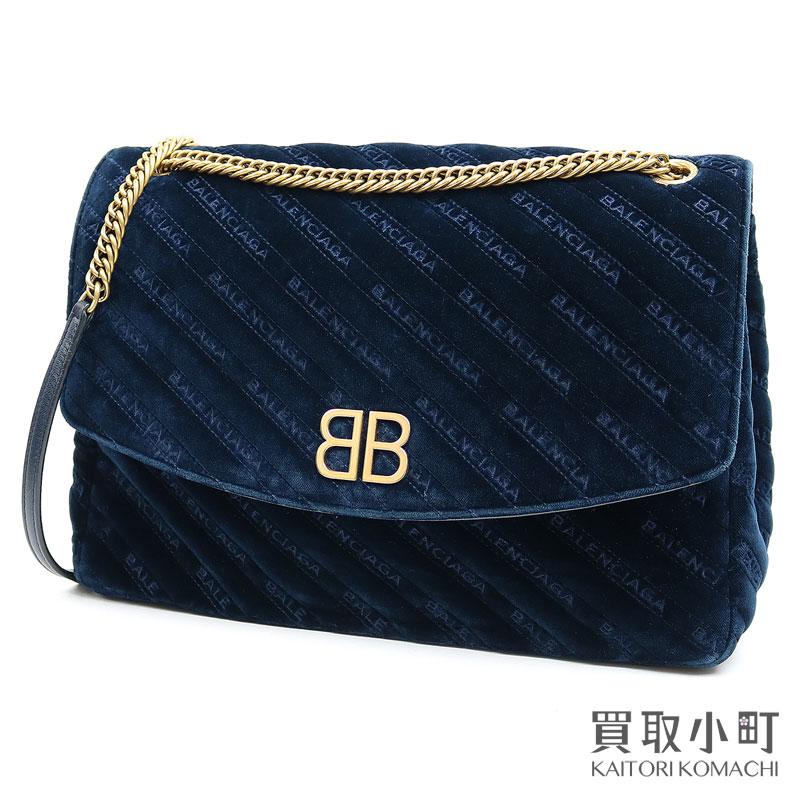 レディースバッグ, ショルダーバッグ・メッセンジャーバッグ 3OFF! 515BALENCIAGABB 501679 BB Z Quilted BB Round Bag With Logo BleuAB