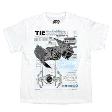 Mad Engine マッド・エンジン ユースサイズ(小学生〜中学生) Tシャツ【STAR WARS スター・ウォーズ ダース・ベイダー専用 タイファイター 設計図風デザイン ホワイト S・M・ L・XL】