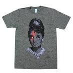 メンズ Tシャツ Audrey Hepburn【オードリー・ヘプバーン イナズマ グレー スリーサイズS・M・L】