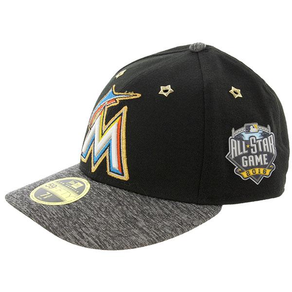New Era【ニューエラ 59Fifty All Star Game 2016 Miami Marlins マイアミ・マリーンズ ロゴ入り野球帽 キャップ 黒 つば丸 11336750】