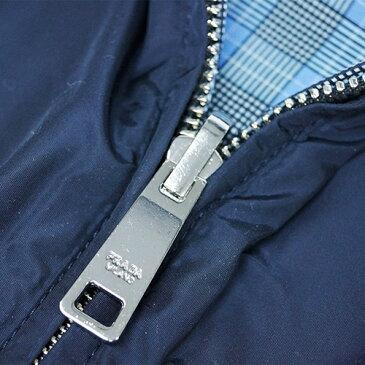 プラダ ブルゾン SGB754 PRADA メンズ リバーシブル フード付き ジップアップ ナイロンパーカー BLUE+AZZURRO ネイビー/ブルーチェック アウトレット