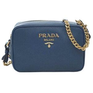 [300 yen OFF coupon] Prada Bag 1BH149 PRADA Shoulder Bag Mini Chain Strap SAFFIANO 1 BLUETTE Bruette Calf Dark Blue Gold Hardware Outlet