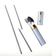 【送料無料】ケース付ステンレスおはし3点セットMY箸マイ箸衛生的エコ箸携帯箸スプーンフォークプレゼント