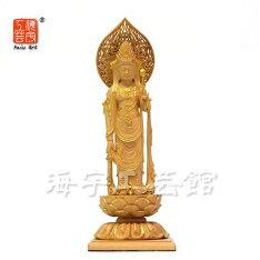 【小仏】シリーズ【聖観音菩薩立像】柘植金泥付総高13cm本格ミニ仏像