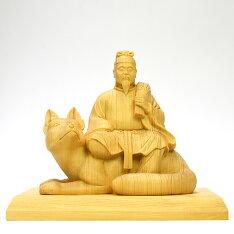 木彫り神像・お稲荷さん【宇迦之御魂神(うかのみたまのかみ)】桧木寄木高さ13.5cm