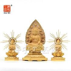 復刻手彫り仏像【国宝阿弥陀三尊像】中尊身丈:2.5寸材質:柘植(ツゲ)