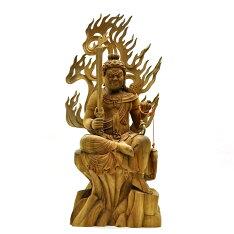 【木彫り仏像】☆不動明王半跏像楠木坐7.5寸総高62cm
