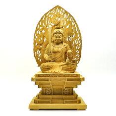 木彫り仏像【座不動明王】火炎光背瑟瑟座楠木坐8.0寸総高68cm