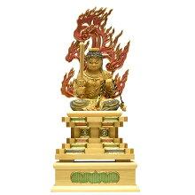 【木彫り仏像】★酉年御守本尊【不動明王】身丈:坐2.0寸材質:桧(ヒノキ)