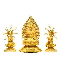 復刻手彫り仏像【国宝阿弥陀三尊像】中尊身丈:3.5寸材質:桧木(ヒノキ)