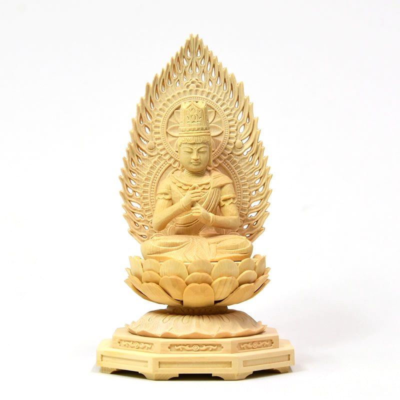 ★木彫り仏像  【大日如来】 火炎光背小八角台 桧 坐2.0寸