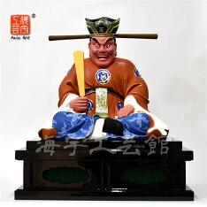 木彫り仏像【閻魔大王坐像】坐1.0尺総高58cm椴松(トドマツ)極彩色