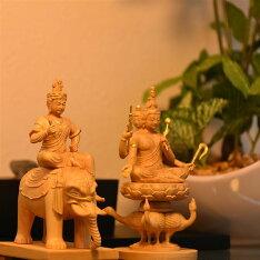 【木彫り仏像】小仏梵天+帝釈天騎象像セット柘植金泥付総高10.5cm
