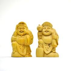 【木彫り仏像】恵比須・大黒天セット柘植5cm
