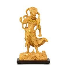 木彫り仏像小仏金剛峯寺形【深沙大将(ジンジャタイショウ)立像】柘植(ツゲ)金泥
