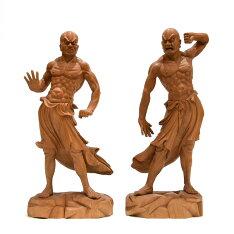 【木彫り仏像】★夏瑞分作楠木興福寺形金剛力士立像阿吽セット高さ34cm