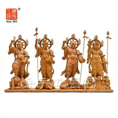 木彫り仏像東寺形【四天王】セット欅