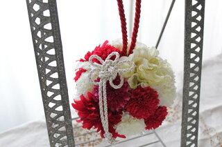 【ウエディングブーケ】ボールブーケ赤*ヘッドドレス付