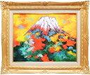 絵画 油絵 赤富士 (山下時雄) 送料無料 【肉筆】【油絵】【日本の風景】【富士】【6号】