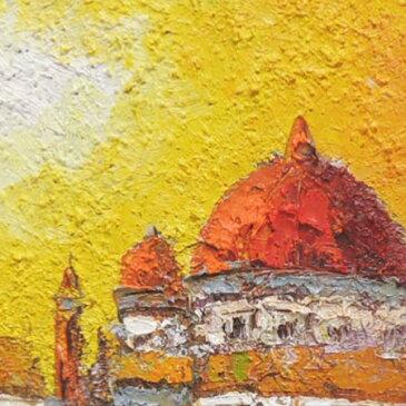 絵画 油絵 ベニス F30号 (渡部ひでき) 送料無料 【海・山】【肉筆】【油絵】【外国の風景】【大型絵画】