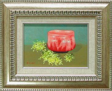 絵画(油絵) 赤楽茶碗とミモザ (倉山静枝) 送料無料 【肉筆】【油絵】【花】【サムホール】