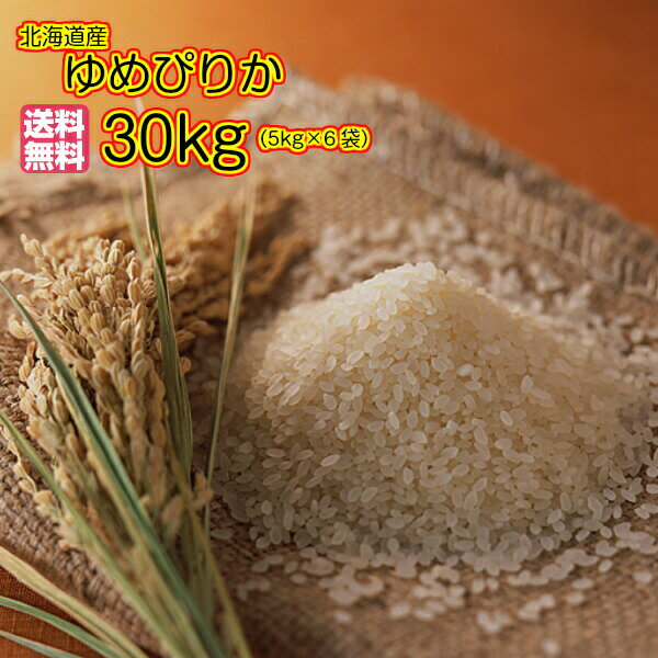 送料無料 北海道産ゆめぴりか 30kg 5kg×6ゴールド袋30年産1等米...