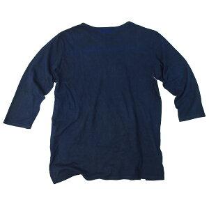 オーガニックコットン7分袖(7分丈)Tシャツ藍渋染め樹