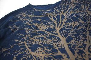 オーガニックコットン7分袖(7分丈)Tシャツ藍鉄染めシダ