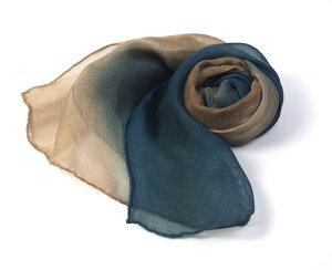藍渋染めシルクスカーフ藍渋よろけ