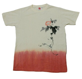 大麻的棉質 T 恤染色茜草色茜牽牛花手繪