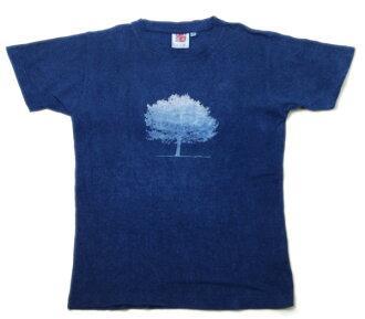 大麻的棉質 T 恤靛藍 ippongi (ipponngi)