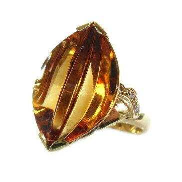 K18 イエローゴールド シトリン ダイヤモンド リング 日本製指輪 ダイアモンド シトリン ゴールド k18 18k 18金 レディース ジュエリー ギフト プレゼント ラッピング 送料無料