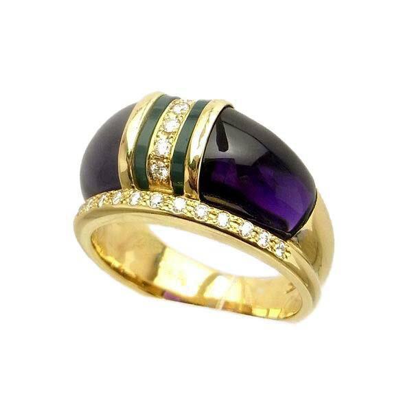 K18 イエローゴールド アメジスト ダイヤモンド メノウ リング 日本製指輪 ダイアモンド アメジスト アゲート ゴールド k18 18k 18金 レディース ジュエリー ギフト プレゼント ラッピング 送料無料