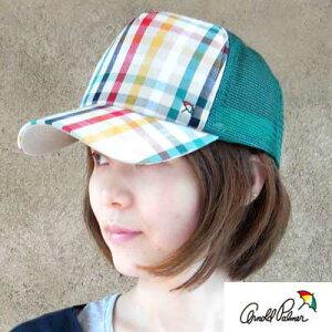 アーノルドパーマー★カラフルなオリジナルチェックのメッシュキャップ/帽子
