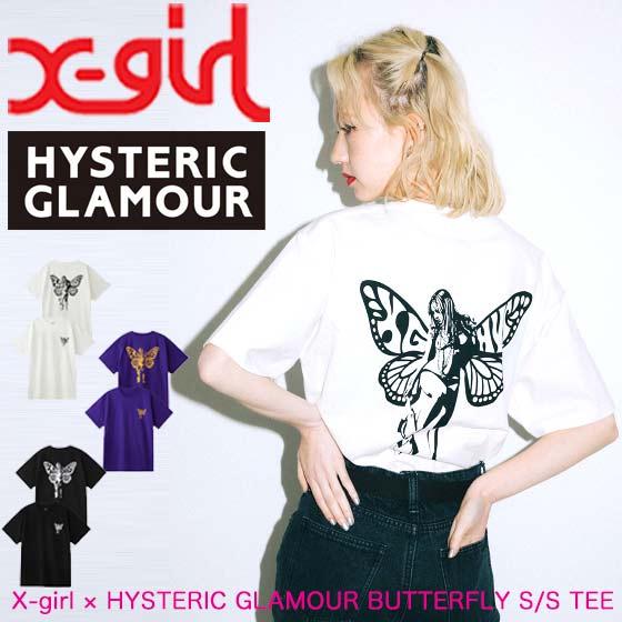 トップス, Tシャツ・カットソー X-girl X-girl HYSTERIC GLAMOUR BUTTERFLY SS TEE T 105204011014