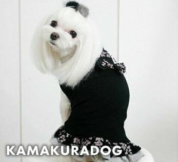 【鎌倉dog】【ドッグウェア】【トイプードル 犬 服 可愛い】【犬服】グレーフラワーワンピース