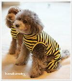 ◆メール便送料無料◆【ドッグウェア】【犬 服】イエローストライプつなぎ