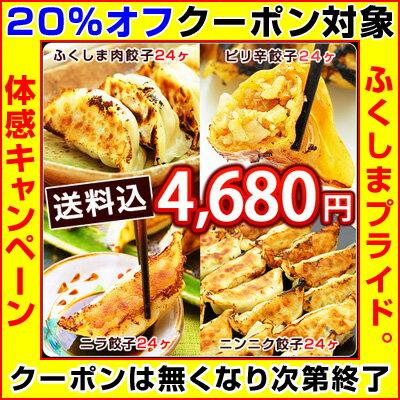 ふくしまギョーザ4種メガ盛セット!肉餃子、ピリ辛餃子、ニンニク餃子、ニラ餃子の4種入♪