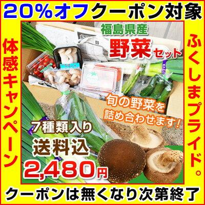 【クーポン使用で20%オフ】福島県産の野菜を応援して下さい!◆旬の野菜をお任せで7種類お届け 送料無料 ※出荷制限・摂取制限の無い野菜をお入れします。※店側でクーポンの後付けは出来ませんので、ご使用忘れにご注意ください。
